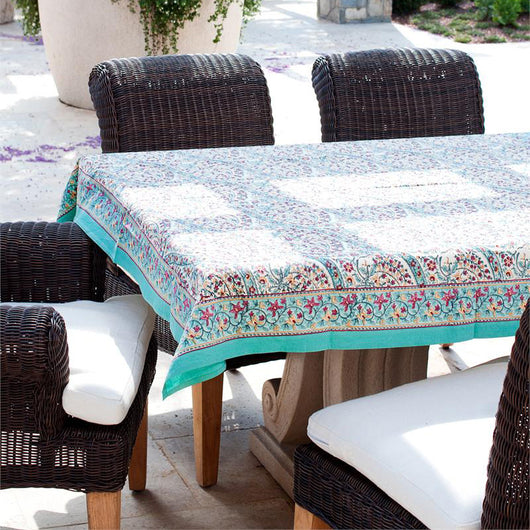 Block Printed Cotton Tablecloth   Turquoise Paisley