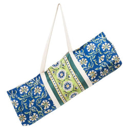 Block-printed Kalini Yoga Bag - Blue and Lime Floral