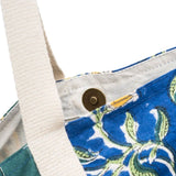 Block-printed Kalini Yoga Bag - Blue and Lime Floral detail