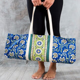 Block-printed Kalini Yoga Bag - Blue and Lime Floral lifestyle