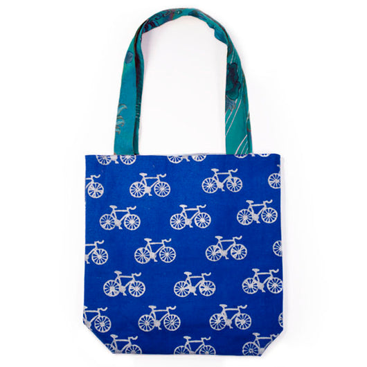 Large Metallic Bicycle Canvas Tote front