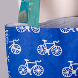 Large Metallic Bicycle Canvas Tote detail