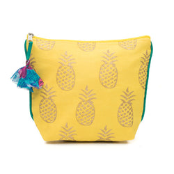 Yellow and Metallic Pineapple Cosmetic Bag