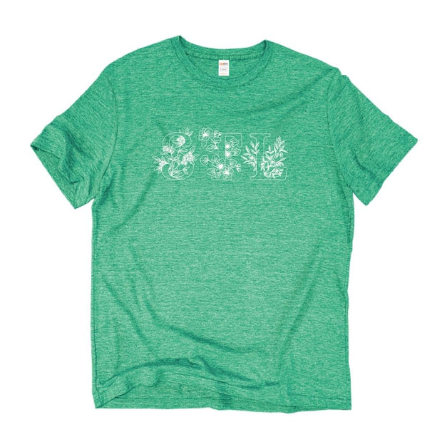 Unisex Short Sleeve Triblend Tee in Grass - STL Floral front