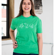 Unisex Short Sleeve Triblend Tee in Grass - STL Floral female model