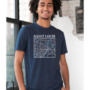 Unisex Short Sleeve Triblend Tee in Heather Navy - STL Map male model