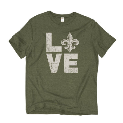 Unisex Short Sleeve Triblend Tee in Olive - LOVE front