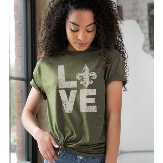 Unisex Short Sleeve Triblend Tee in Olive - LOVE female model