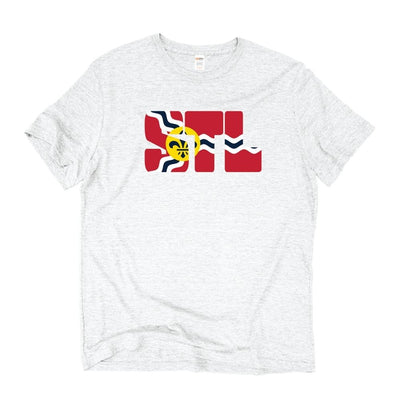 Unisex Short Sleeve Triblend Tee in Vintage White - STL Flag  front