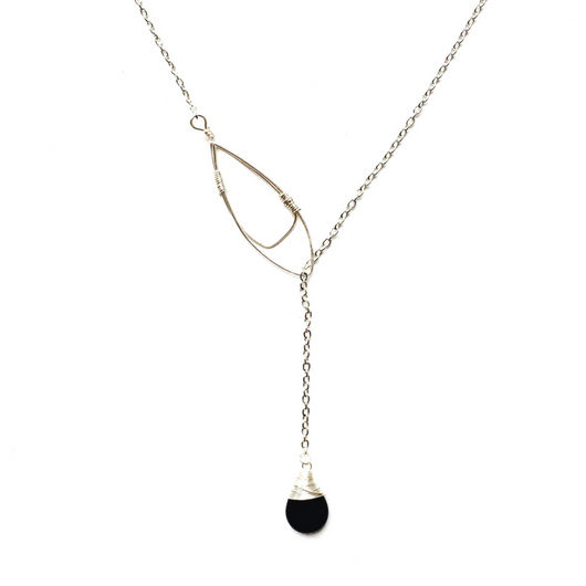 Silver Lariat with Black Onyx Teardrop Necklace