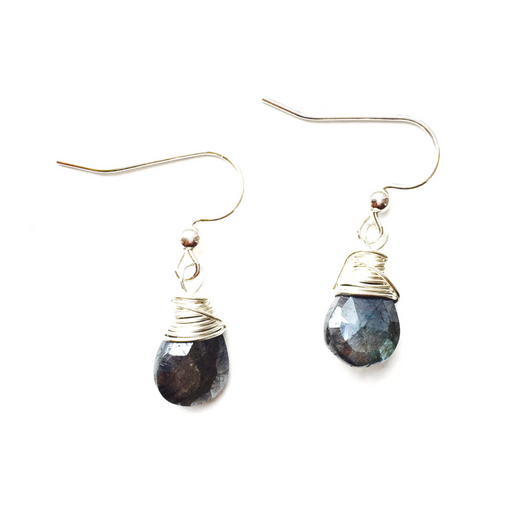 Labradorite Drop and Silver Plated Earrings