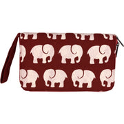 Fair Trade Elephants Print Travel Wallet - Brick