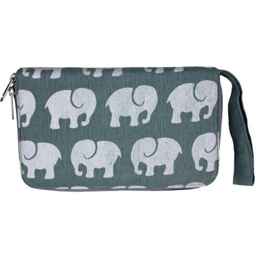 Fair Trade Elephant Print VW001 Travel Wallet - Light Grey