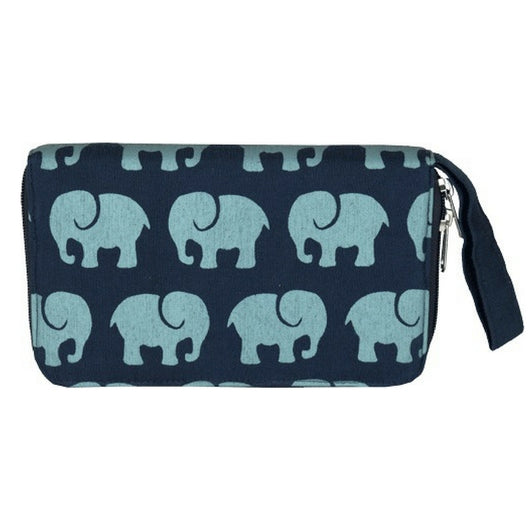 Fair Trade Elephant Print VW001 Travel Wallet - Navy