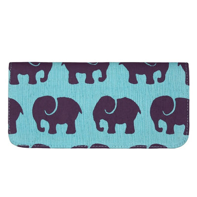 Screen Print Long Wallet - Purple Elephant