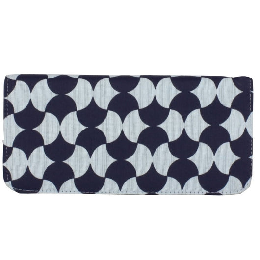 Screen Print Long Wallet - Navy Tile frontview
