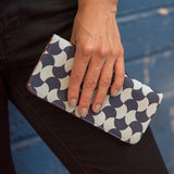 Screen Print Long Wallet - Navy Tile lifestyle