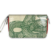 Recycled Cement Bag Travel Wallet - Green Serpent