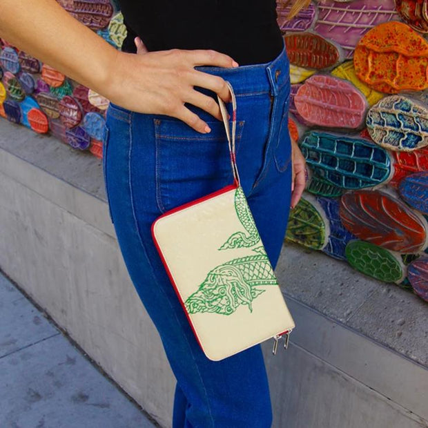 Recycled Cement Bag Travel Wallet - Green Serpent lifestyle