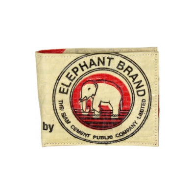 Recycled Cement Sack Bifold Wallet - Circle Elephant design