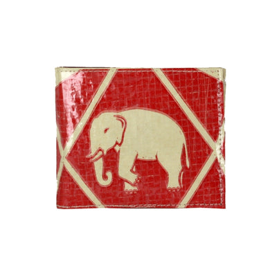 Recycled Cement Sack Bifold Wallet - Diamond Elephant design