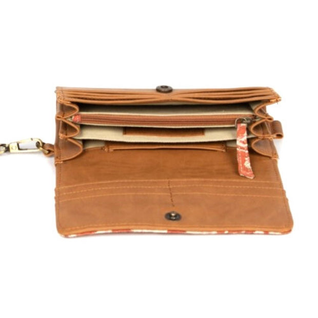 JOYN Foldover Vegan Wristlet Wallet - Autumn Shadow interior