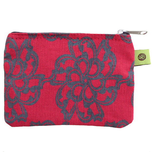Fair Trade Cranberry Cambodian Flower Coin Purse