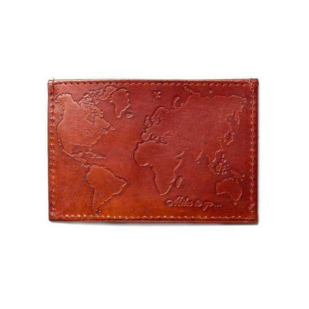 Men's Compact Leather Wallet - World Map