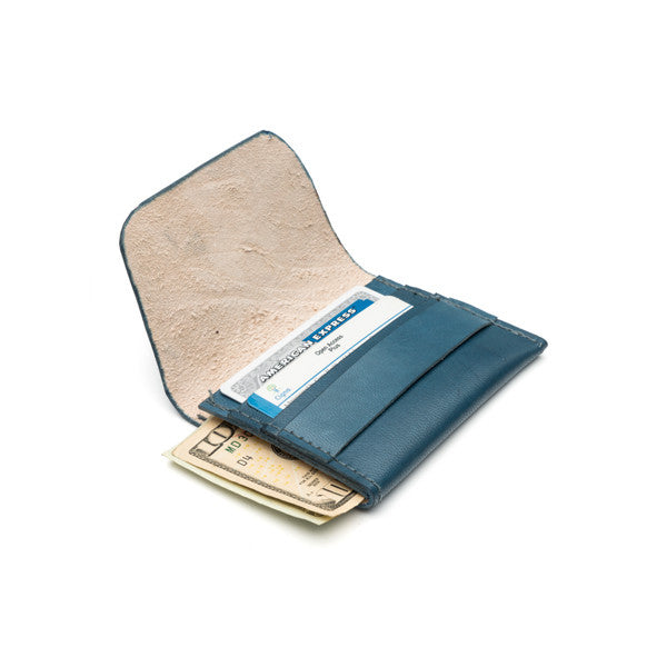 Sustainable Leather Slim Blue Wallet