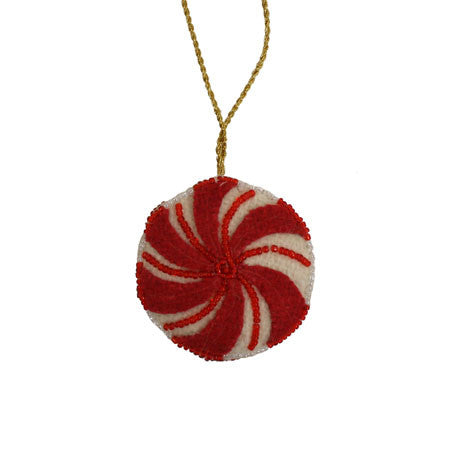 Felted Peppermint Drop Ornament