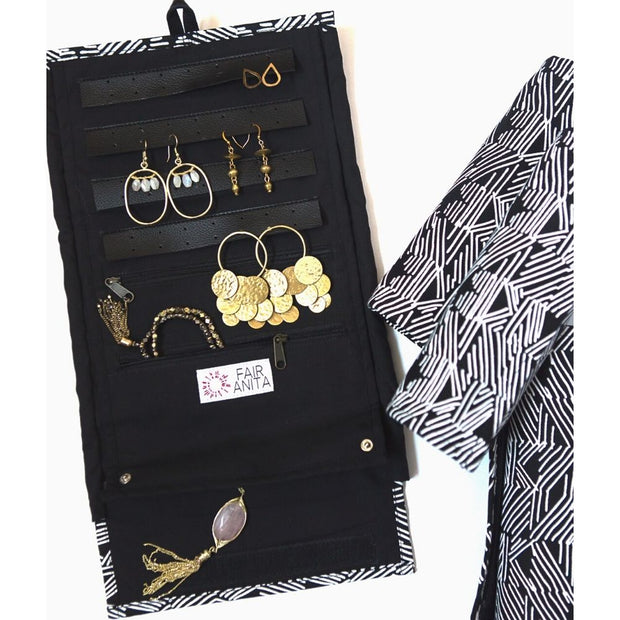 Ultimate Jewelry Roll Travel Case - Black inside view