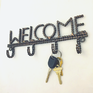 Fair Trade Reclaimed Bike Chain Welcome Wall Hooks lifestyle
