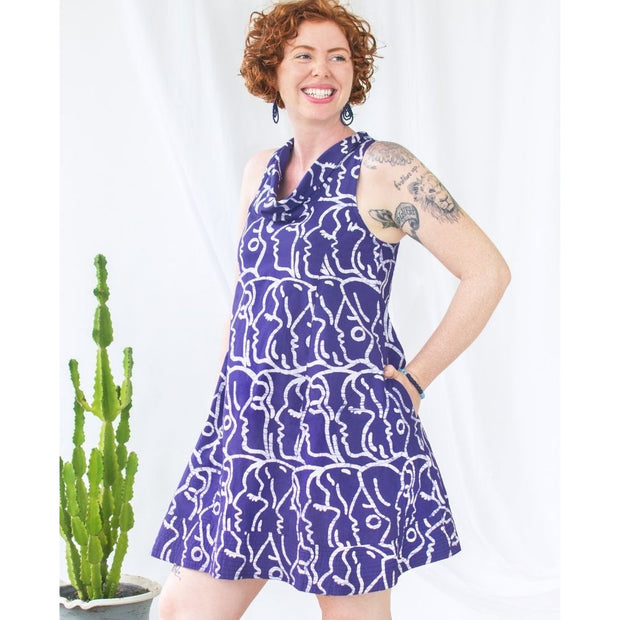 Global Mamas Batik Eli Dress - Sisters Navy model