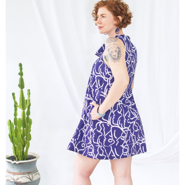 Global Mamas Batik Eli Dress - Sisters Navy back view