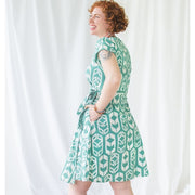 Fair Trade Batik Wrap Dress - Shields Sage back view