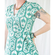 Fair Trade Batik Wrap Dress - Shields Sage detail