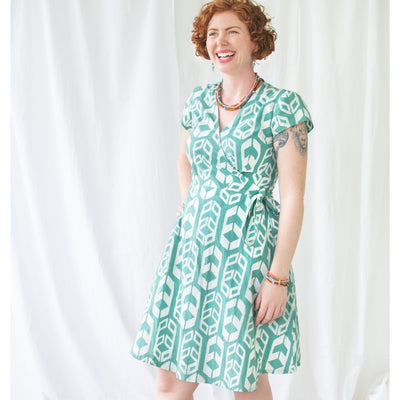 Fair Trade Batik Wrap Dress - Shields Sage