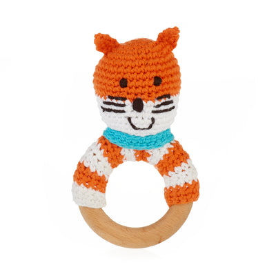 Wooden Teething Ring Rattle - Fox