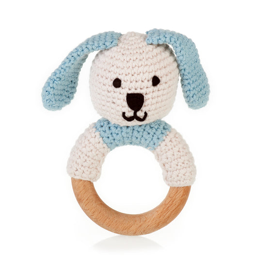 Pebble Wooden Teething Ring Rattle - Organic Blue Bunny