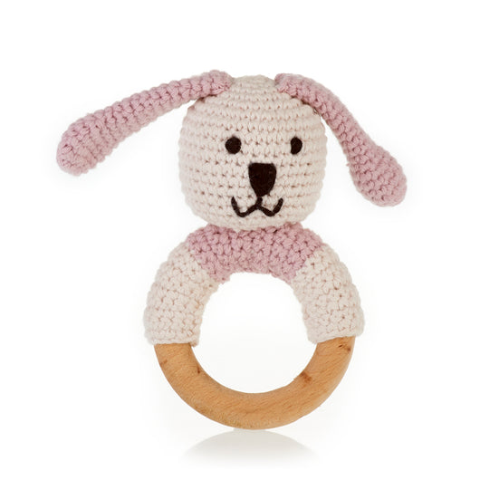 Pebble Wooden Teething Ring Rattle - Organic Pink Bunny