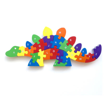 Wooden Stegosaurus Jigsaw Puzzle - Letters A-Z