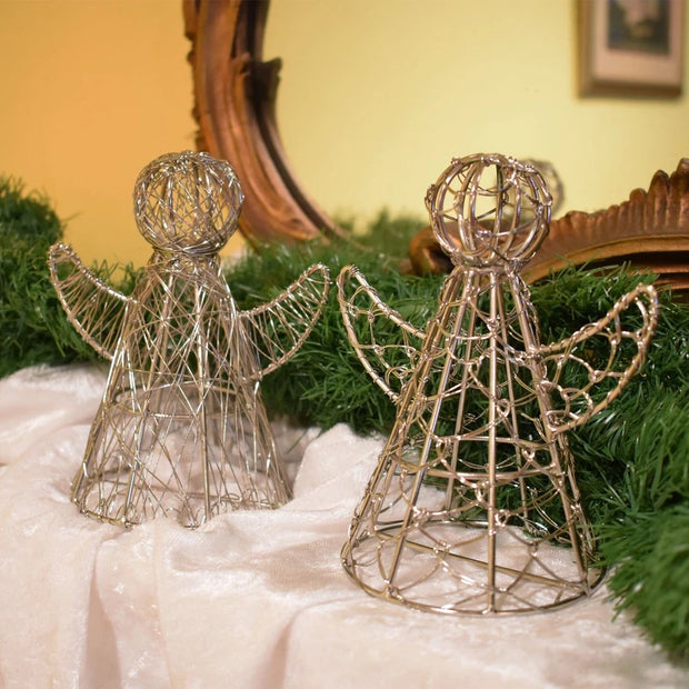 Silvertone Wrapped Wire Angel Decor lifestyle