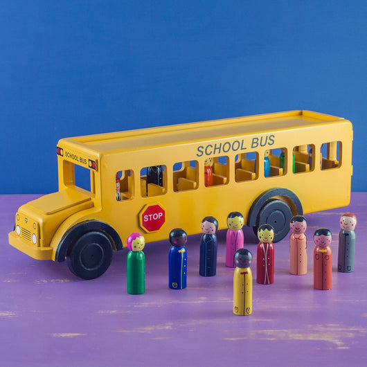 Yellow School Bus Wooden Toy with Children