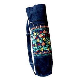 Embroidered Yoga Mat Cotton Bag with Floral Embroidery