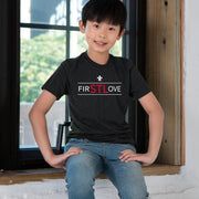 Youth Short Sleeve Premium Cotton Tee in Black - FIRSTLOVE male model