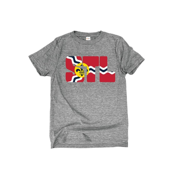Youth Short Sleeve Premium Cotton Tee in Oxford Grey - STL Flag front
