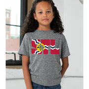 Youth Short Sleeve Premium Cotton Tee in Oxford Grey - STL Flag female model