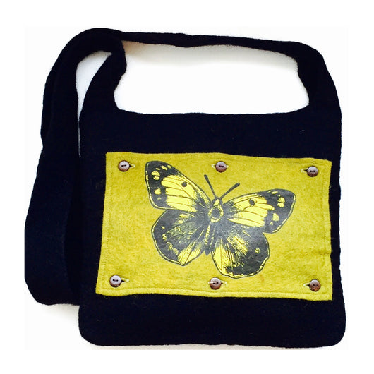 Felted Flap Shoulder Bag with Hand-Printed Art Panel