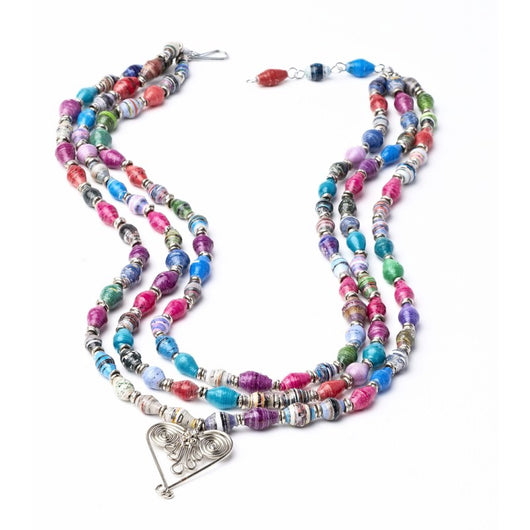 3-Strand Paper Bead Healing Hearts Statement Necklace