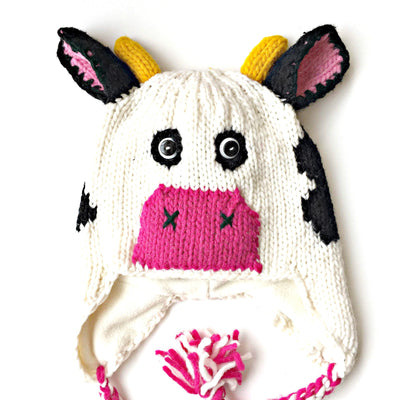Hand-knitted and Fair Trade Cow Kid's Hat